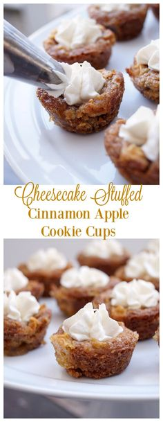 Cheesecake Stuffed Cinnamon Apple Cookie Cups are the perfect small dessert to share!