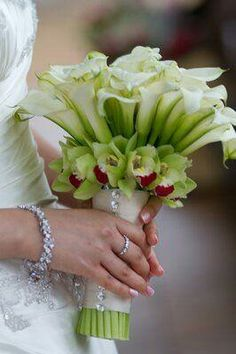 Glamorous Bridal Bouquet Comprised Of White Calla Lilies Green Cymbidium Orchids