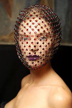 A Veiled Tale ☫ ruby red gemstone veil - Armani Privé