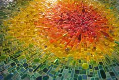 """Part of the """"Nebula Chroma"""" mosaic by Sonia King, installed in the main lobby of Children's Medical Center of Dallas."""