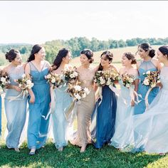 Long live convertible bridesmaid dresses in pretty blue shades! And the dreamy garden bouquets that come with these. Who here is planning on mismatched bridesmaid dresses What colors? photo florals planning design venue from Amsale Bridesmaid, Mismatched Bridesmaid Dresses, Colored Wedding Dresses, Wedding Colors, Wedding Styles, Wedding Themes, Mix Match Bridesmaids, Blue Bridesmaids, The Bride