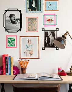 Washi tape used as frames. Great for those who love to change it up often! #washi #diy