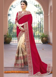 Online shopping for designer saree.Shop this fancy fabric cream and red designer bridal sarees.