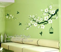 cherry blossom wall decal birds wall decals flower vinyl wall decals birdcage wall mural nursery wall decal nature- flower tree Z157 cuma by Cuma wall decals, $58.00 USD