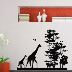 African Savanna And Animal Jungle Wall By LittleSquirrelDecors - Wall decals animalsafrican savannah wall sticker decoration great trees with