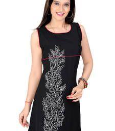 Buy black lazer georgett dori work tunic kurtas-and-kurti online