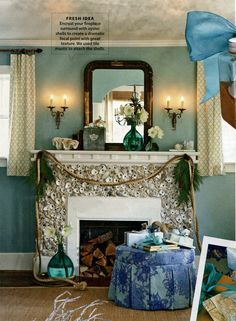 Fireplace surround with oyster shells - CoastalLiving.