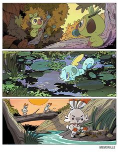 """I can't wait for the new game 😭Which one r u guys gonna pick 👀"""" Pokemon Comics, Pokemon Fan Art, O Pokemon, Pikachu, Pokemon Stuff, Pokemon Images, Pokemon Pictures, Pokemon Legal, Pokemon Starters"""