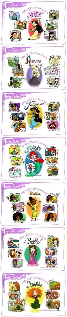 Pocket Princesses: Meet the Princesses - Amy Mebberson Disney Pixar, Disney Jokes, Disney Fan Art, Disney Fun, Disney And Dreamworks, Disney Girls, Disney Cartoons, Walt Disney, Funny Disney