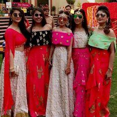 Indian Fusion Style - wedding look, wedding indian style, bridesmaid style, indian wedding LookVine Indian Wedding Outfits, Indian Outfits, Bridal Outfits, Indian Bridesmaids, Bridesmaid Dresses, Churidar, Anarkali, Saree, Mehendi Outfits