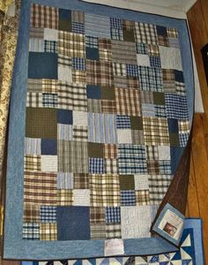 plaid shirt quilts | Quilt made by the son of Lisa Burman, age 6