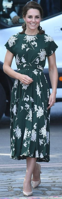 22 May 2017 - The Duchess of Cambridge arrived at the Chelsea Flower Show in glorious sunshine. She plumped for a green and white printed dress by Rochas teamed with her trusty nude heels.