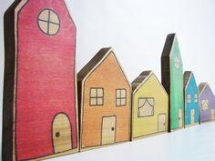 Etsy find of the day - wooden rainbow village blocks