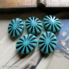Turquoise Ovals . NEW Czech Glass Pinwheel Beads by LuckySpotShop