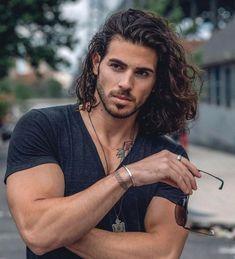 Guy Haircuts Long, Hairstyles Haircuts, Down Hairstyles, Chin Length Hair, Long Length Hair, Long Curly Hair Men, Long Hair Cuts, Men With Long Hair, Long Hair Beard