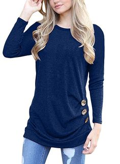 7f72587238212 MOLERANI Women s Casual Long Sleeve Round Neck Loose Tunic T Shirt Blouse  Tops (XL