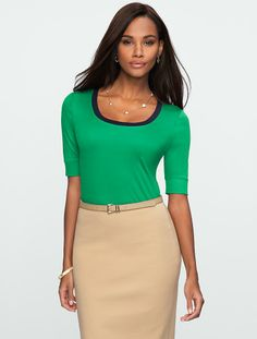 Talbots - Elbow-Sleeve Luxe Colorblock Scoopneck | New To Sale | Misses, $30
