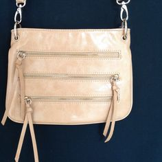 NWT⭐️Zip It! Cute Cream Fashion Cross Body High quality faux leather. Chic, unique detailing. Adjustable long strap.  Wanted Wardrobe Bags Crossbody Bags