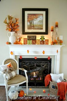 Adventures in Decorating: Our Simple Fall Mantel ... #simple_decor_mantle