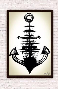 Sailing Ship w/ Anchor // Trippy Nautical Ship and by Clarafornia