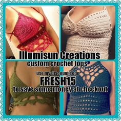 Checkout @illumisuncreations for custom crochet tops so you can get your order before Summer comes! All tops start at $35 but you can always use FRESH15 to save 15% on your order! Message @habitualhooper or @illumisuncreations for custom orders! Discount code is good for customs also  LINK IN BIO #illumisuncreations #crochetfashion #crochettop #knit #knitwear #madewithlove #supportsmallbusiness #etsy #yarn #freshoffthehook #custommade #customtops #festywear #festygear #festival…