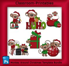 Monkey Around Christmas Template Bundle.Clipart Templates for Scrapbooking. For Digital Scrapbooking, Clipart, Creating Cards & Printables. Comes PSD Format For Use in Photoshop and Graphics Programs