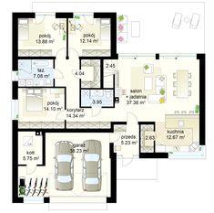 Projekt domu Klimek 2 - samba - Welcome to the World of Decor! House Plans Mansion, Bungalow House Plans, House Floor Plans, Best House Plans, Modern House Plans, Minimalist House Design, Minimalist Home, Building Design, Building A House