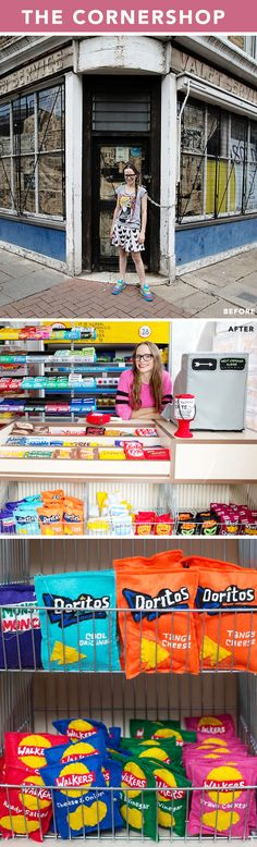 lucy sparrow - a cornershop in london fully stocked with FELT FOOD!!!