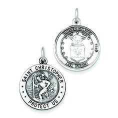 Oval St Christopher Collier solid sterling silver cut out médaille 29.00x20.00 mm
