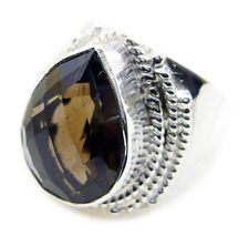 Smoky Quartz 925 Sterling Silver Ring excellent Brown india AU KMOQ