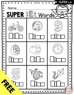 FREEBIE SIlent E Long Vowel Worksheets - Superhero E in Kindergarten Phonics - FREE printables and worksheets - activities and lesson plans for teaching sneaky E and long vowels FREEBIES Long Vowel Worksheets, Phonics Worksheets, Kindergarten Worksheets, Summer Worksheets, Teaching Phonics, Sight Words, Cvce Words, Valentinstag Party, First Grade Phonics