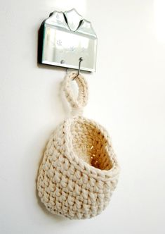 Crochet Hanging Basket Tshirt Zpagetti Yarn in by DeliriumDecor, $28.00