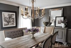 A farmhouse table meets classic dining room decor with this beautiful hanging chandelier and lovely floral design throughout. Dining Room Art, Classic Dining Room, Dining Room Design, Dining Room Furniture, Dark Grey Dining Room, Dining Table, Room Wall Colors, Muebles Living, Farmhouse Table