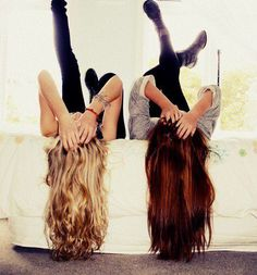 my bestfriend and i have different color hair <3.... most of the time