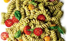 Recipe: Fusilli with Basil, Tomatoes, and Avocado Sauce