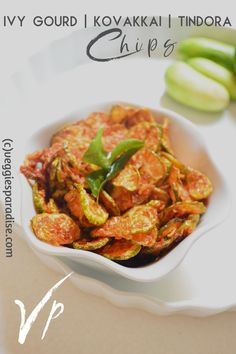 Today's post is all about a simple and tasty homemade chip made from a vegetable named Kovakkai (Tamil). It is also known in different names as Ivy Gourd | Tindora. Chips is a part of accompaniment served in South Indian meal and the most commonly used vegetable is potato or raw banana. But with Kovakkai you might be wondering how it's going to be, some might have already tried it but for those who haven't tried making them, do try out, and definitely, you will fall in love with it. Vegan Gluten Free, Vegan Vegetarian, Homemade Chips, Raw Banana, Indian Food Recipes, Ethnic Recipes, Chips Recipe, Curry Leaves, Rice Flour