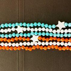Orange, Sky, White necklaces # handmade # Frago-là