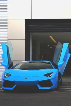 Blue Lamborghini Aventador