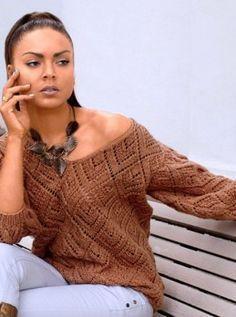 Пуловер узором ажурные ромбы