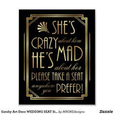Wedding Gifts Diy Gatsby Art Deco WEDDING SEAT Sign Print - roaring wedding gifts party ideas - Great for use in planning Wedding Themes, Wedding Signs, Wedding Colors, Wedding Venues, Wedding Ideas, Gatsby Wedding Decorations, Wedding Hacks, Art Deco Wedding Decor, Wedding Stuff
