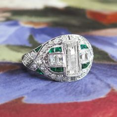 Vintage Edwardian 1920's Emerald Cut French Cut Diamond Emerald Engagement Anniversary Ring Platinum
