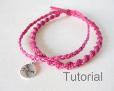 Bracelet noué en macramé modèle tutoriel pdf deux en un bijoux instructions argent charme tresse bricolage bricolage pour Noël cadeau vacances