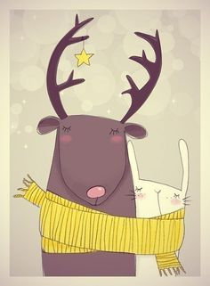 """Reindeer and Bunny"" illustration for cute illustrated Christmas cards. Art And Illustration, Illustration Mignonne, Christmas Illustration, Illustrations Posters, Design Illustrations, Botanical Illustration, Art Mignon, Christmas Art, Whimsical Christmas"