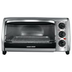 Black & Decker Black & Decker Toaster Oven Product Features Stainless steel toaster oven fits up to four slices of bread or a personal sized pizzaDual-position rack slotsEasy-to-use functions: Bake, Broil, Toast and Keep Warm . Kitchen Appliance Reviews, Small Kitchen Appliances, Kitchen Items, Stainless Steel Toaster, Stainless Steel Countertops, Bbq Recipes Video, Black And Decker Toaster, Countertop Convection Oven, Indoor Grill