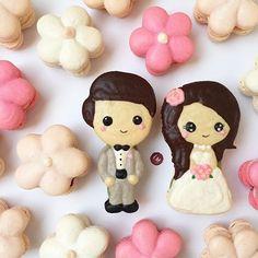 Detailed Wedding bride groom macarons  kisses xx, ♡princessmeghanm♡