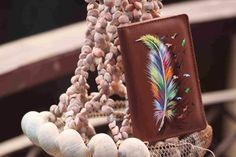 Colorful Feather On Leather Card Holder - Hand Painted