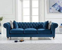 The Carrara Blue Velvet 2 Seater Sofa features a chic design and colour to enhance any living area. Upholstered in blue velvet and featuring a deep-buttoned design with scrolled armrests, the 2 seater sofa is complete with 2 free cushions. Latest Sofa Designs, Velvet Furniture, Deck Furniture, Furniture Market, Bedroom Furniture, Sofa Deals, Best Leather Sofa, Sofa Price, Three Seater Sofa