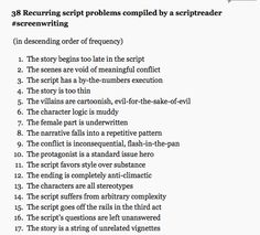 38 Recurring Script problems, compiled by a script reader.