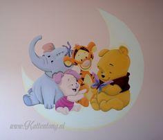 Winnie the Pooh muurschildering door Kattentong Decoratiewerken.