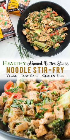 Healthy Almond Butter Noodle Stir Fry Recipe With Tofu and Veggies Vegan, Low Carb, Gluten-Free, One-Pot, And An Easy Weeknight Meal For The Entire Family Via Vgastronomy Easy Vegan Dinner, Vegan Dinner Recipes, Delicious Vegan Recipes, Vegan Dinners, Stir Fry Recipes, Tofu Recipes, Real Food Recipes, Healthy Recipes, Zoodle Recipes